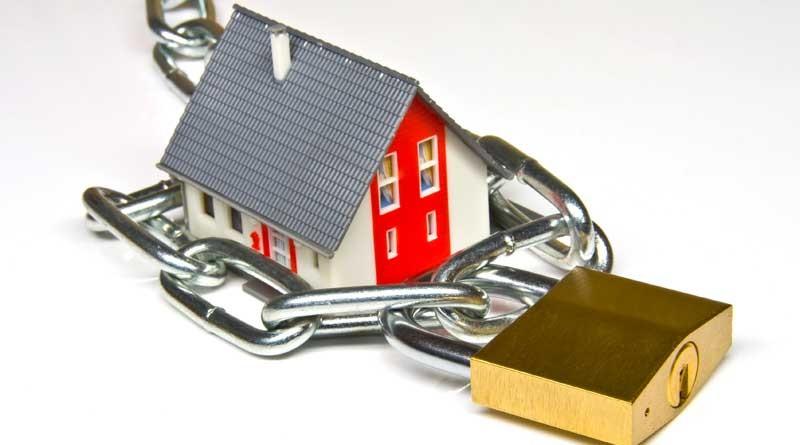 Haus mit Sicherheitsschloss