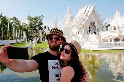 Paar Selfie Tempel