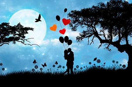 Paar, Herzen, Ballons
