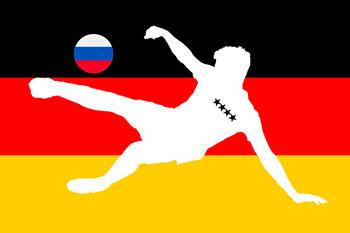 Fußballspieler vor deutscher Fahne