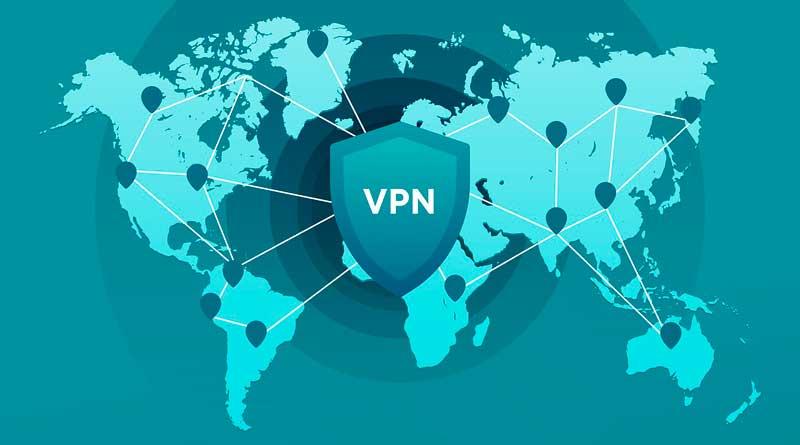 Weltkarte mit VPN-Symbol