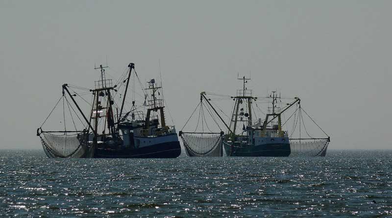 Zwei Fischkutter auf dem Meer