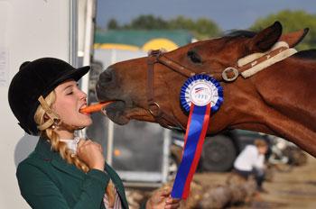 Turniergewinnerin gibt ihrem Pferd eine Möhre