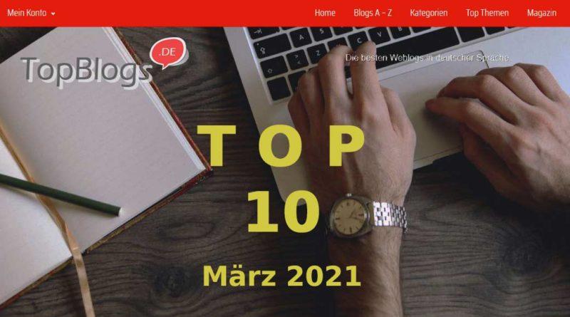 ymbolbild: Top 10 Blogs im März