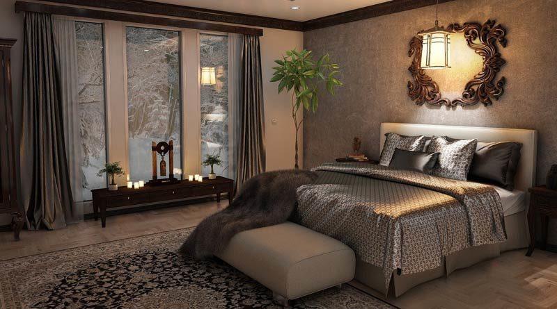 Mondänes Schlafzimmer mit Wasserbett